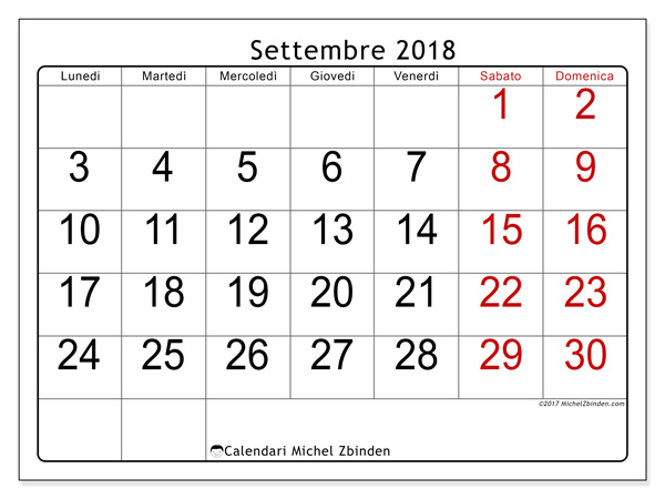 Calendario settembre 2018, Emericus