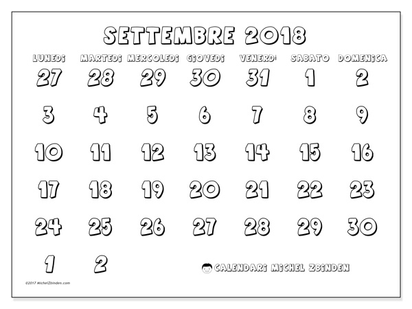 Calendario settembre 2018, Hilarius