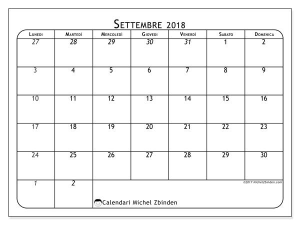 Calendario settembre 2018, Maximus