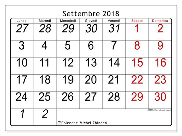 Calendario settembre 2018, Oseus