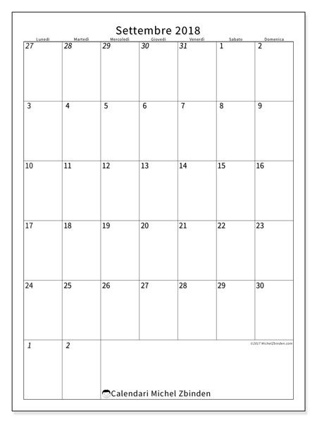 Calendario settembre 2018, Regulus