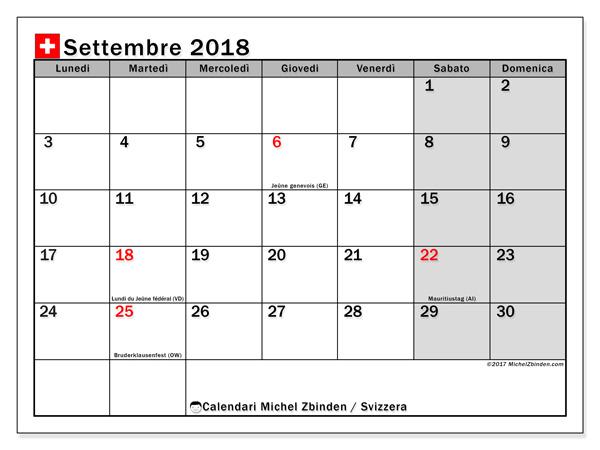 Calendario settembre 2018, Giorni festivi in Svizzera