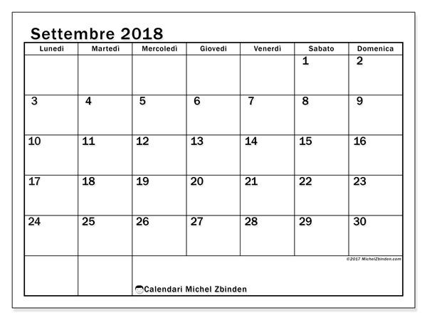 Calendario settembre 2018, Tiberius