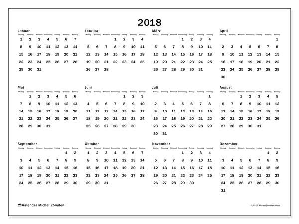 Kalender 2018 (32MS). Kalender zum kostenlosen ausdrucken.