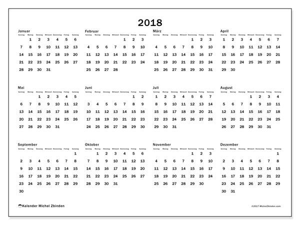 Kalender 2018 (32SS). Kalender zum kostenlosen ausdrucken.