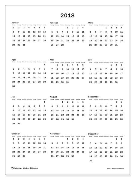 Kalender 2018 (33MS). Kostenlos ausdruckbare Kalender.