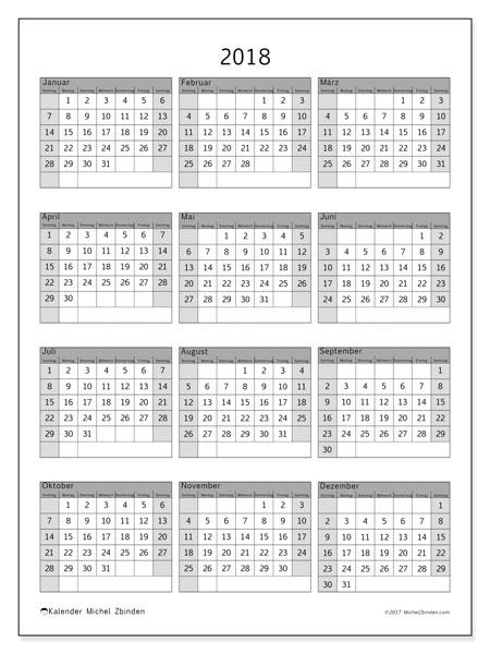 Kalender 2018 (37SS). Kalender für das Jahr zum kostenlosen ausdrucken.