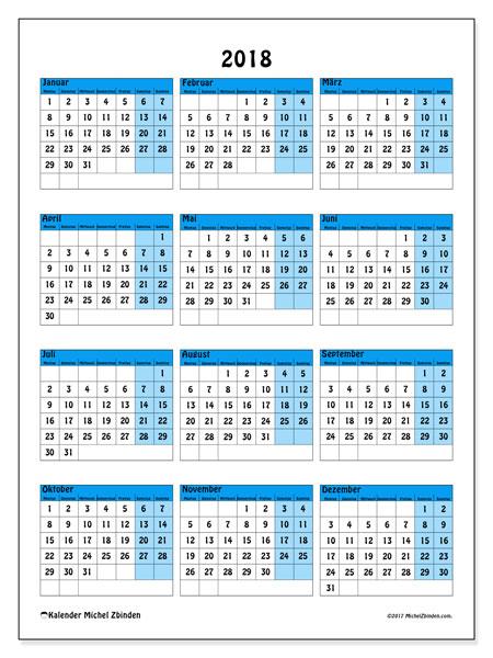 Kalender 2018 (40MS). Kalender zum kostenlosen ausdrucken.