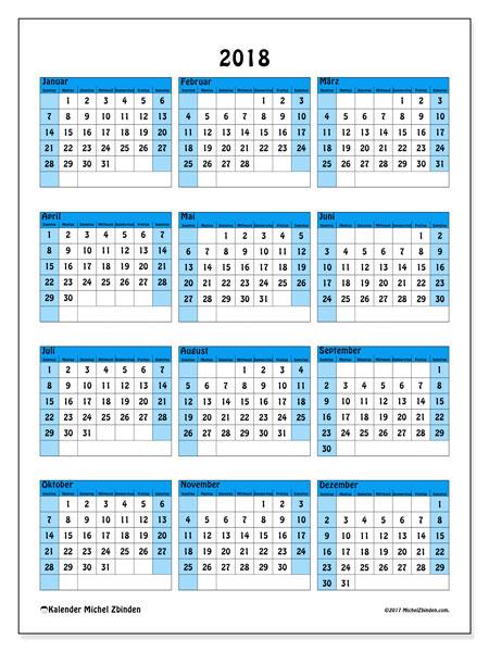 Kalender 2018 (40SS). Kalender zum kostenlosen ausdrucken.