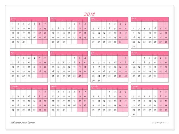 Kalender 2018 (41MS). Jahreskalender zum kostenlosen ausdrucken.