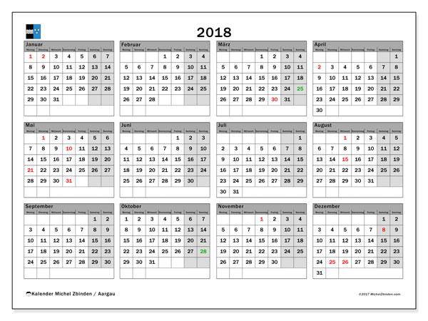 Kalender für 2018, , mit Feiertagen des Kantons Aargau. Monatlicher Zeitplan zum kostenlosen ausdrucken.