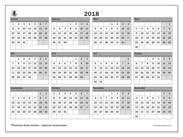 Kalender für 2018, , mit Feiertagen des Kantons Apenzell Ausserrhoden. Kostenloser Zeitplan zum ausdrucken.
