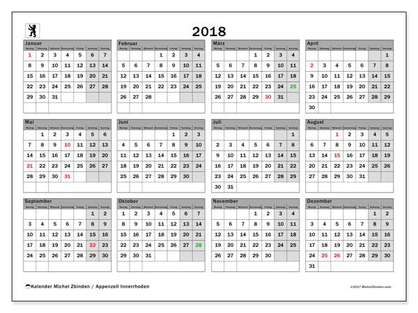 Kalender für 2018, mit Feiertagen des Kantons Apenzell Innerrhoden. Kostenloser Kalender zum ausdrucken.