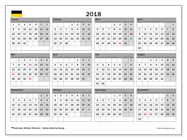 Kalender für 2018, mit Feiertagen Baden-Württemberg. Kostenlos ausdruckbare Planer.