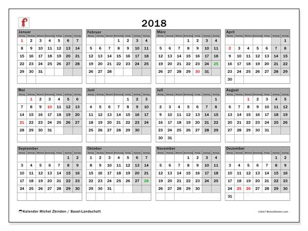 Kalender für 2018, , mit Feiertagen des Kantons Basel Landschaft. Kalender zum kostenlosen ausdrucken.
