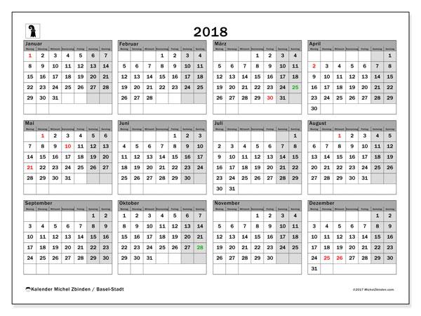 Kalender für 2018, , mit Feiertagen des Kantons Basel Stadt. Monatlicher Zeitplan zum kostenlosen ausdrucken.