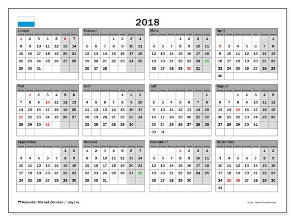 Kalender für 2018, , mit Feiertagen Bayern. Kostenloser Kalender zum ausdrucken.