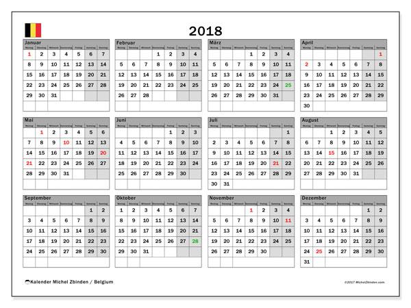 Kalender für 2018, mit Feiertagen in Belgien. Monatlicher Kalender zum kostenlosen ausdrucken.