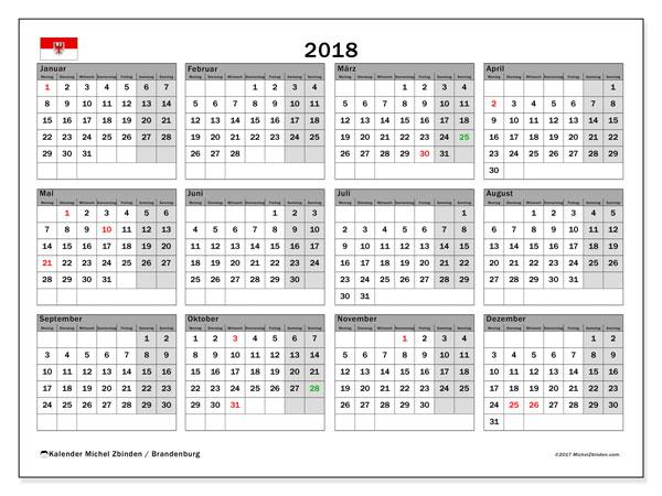 Kalender für 2018, , mit Feiertagen Brandenburg. Kostenloser Kalender zum ausdrucken.