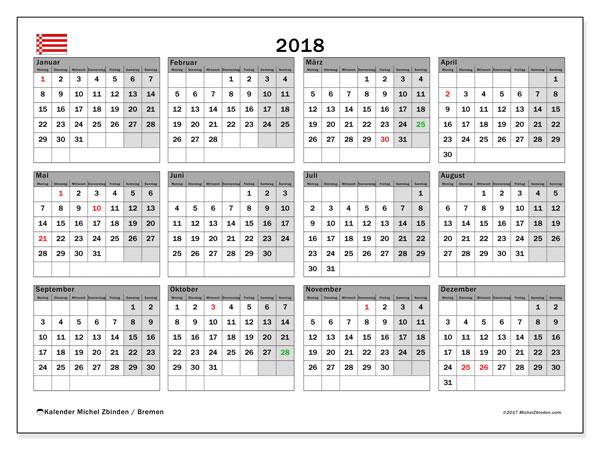Kalender für 2018, , mit Feiertagen Bremen. Kostenloser Planer zum ausdrucken.