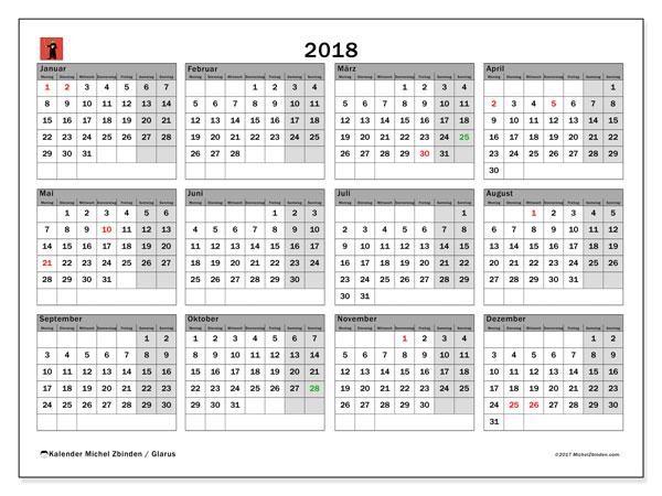Kalender für 2018, , mit Feiertagen des Kantons Glarus. Kostenlos ausdruckbare Planer.
