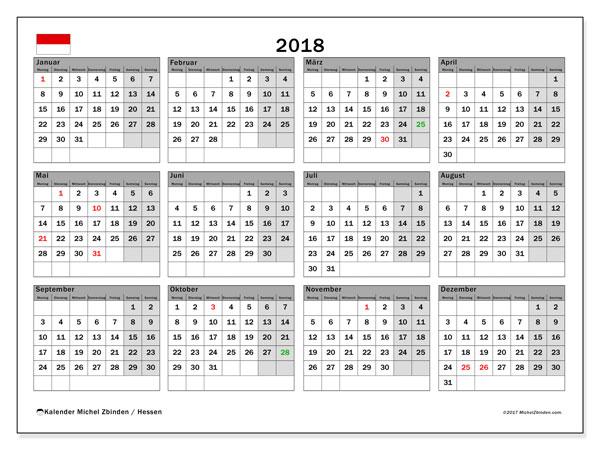 Kalender für 2018, , mit Feiertagen Hessen. Kostenloser Planer zum ausdrucken.