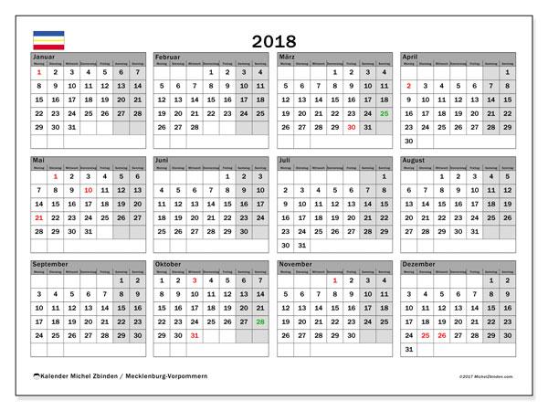 Kalender für 2018, , mit Feiertagen Mecklenburg-Vorpommern. Kostenloser Kalender zum ausdrucken.