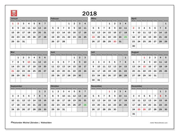 Kalender für 2018, , mit Feiertagen des Kantons Nidwalden. Kostenlos ausdruckbare Kalender.