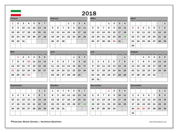 Kalender für 2018, mit Feiertagen Nordrhein-Westfalen. Kostenloser Zeitplan zum ausdrucken.