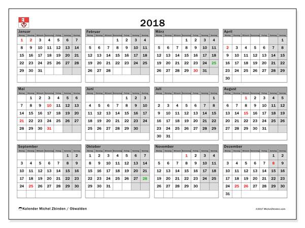 Kalender für 2018, , mit Feiertagen des Kantons Obwalden. Kostenlos ausdruckbare Kalender.