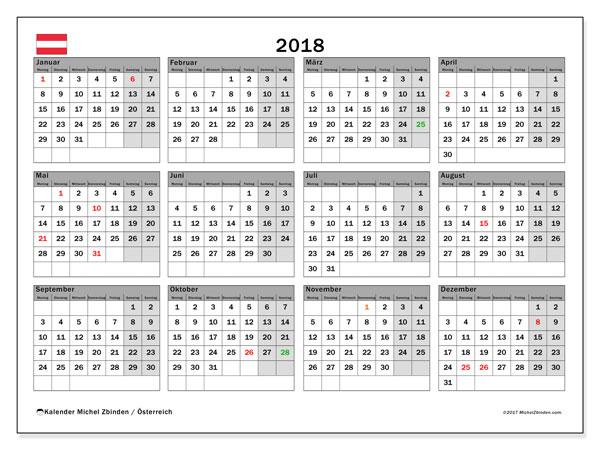 Kalender für 2018, mit Feiertagen in Österreich. Kostenloser Kalender zum ausdrucken.