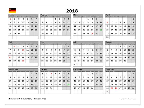 Kalender für 2018, mit Feiertagen Rheinland-Pfalz. Kostenloser Kalender zum ausdrucken.