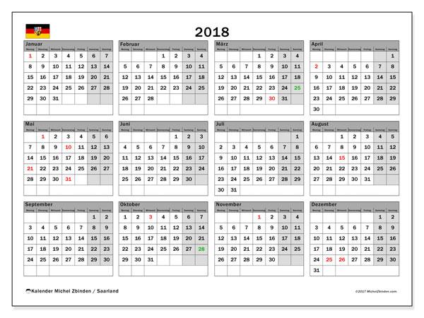 Kalender für 2018, , mit Feiertagen Saarland. Monatskalender zum kostenlosen ausdrucken.