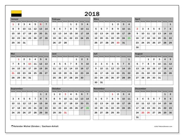 Kalender für 2018, mit Feiertagen Sachsen-Anhalt. Monatlicher Kalender zum kostenlosen ausdrucken.