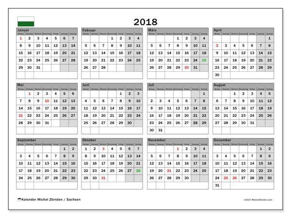 Kalender für 2018, , mit Feiertagen Sachsen. Kalender für den Monat zum kostenlosen Ausdrucken.