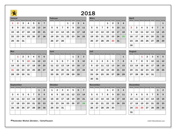 Kalender für 2018, , mit Feiertagen des Kantons Schaffhausen. Planer zum kostenlosen ausdrucken.