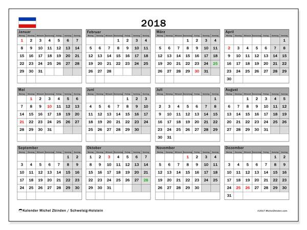 Kalender für 2018, , mit Feiertagen Schleswig-Holstein. Kostenloser Kalender zum ausdrucken.