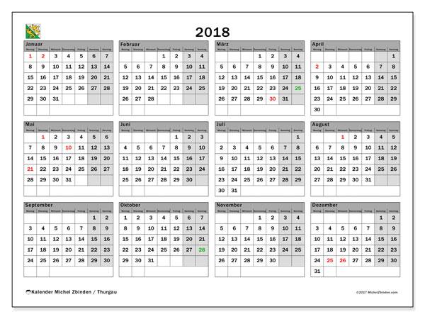 Kalender für 2018, mit Feiertagen des Kantons Thurgau. Monatlicher Zeitplan zum kostenlosen ausdrucken.