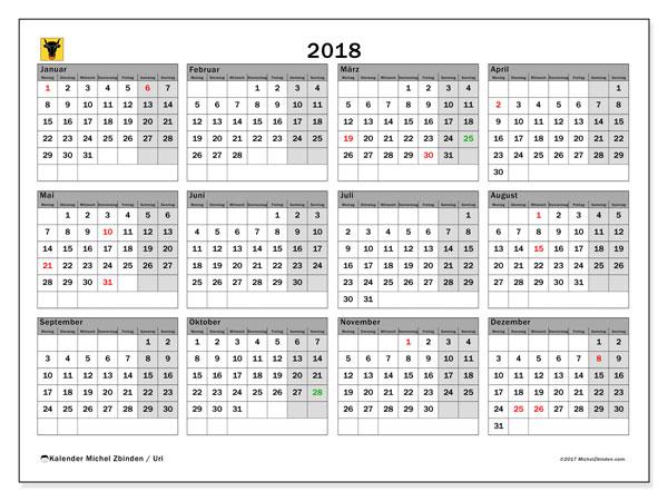 Kalender für 2018, , mit Feiertagen des Kantons Uri. Kalender zum kostenlosen ausdrucken.