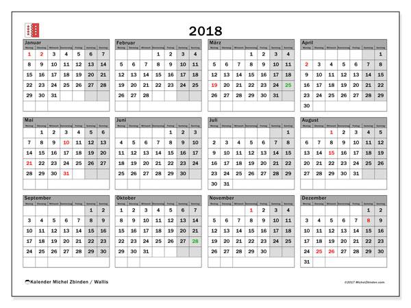 Kalender für 2018, , mit Feiertagen des Kantons Wallis. Zeitplan zum kostenlosen ausdrucken.
