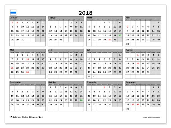 Kalender für 2018, , mit Feiertagen des Kantons Zug. Kostenlos ausdruckbare Kalender.