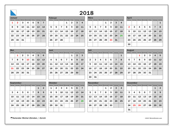 Kalender für 2018, mit Feiertagen des Kantons Zürich. Kostenlos ausdruckbare Kalender.