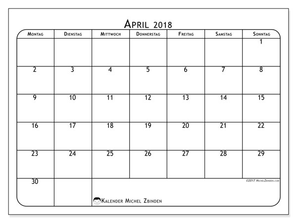 Kalender April 2018 (51MS). .