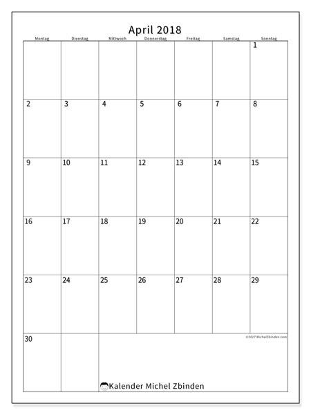 Kalender April 2018 (52MS). Kalender zum kostenlosen ausdrucken.