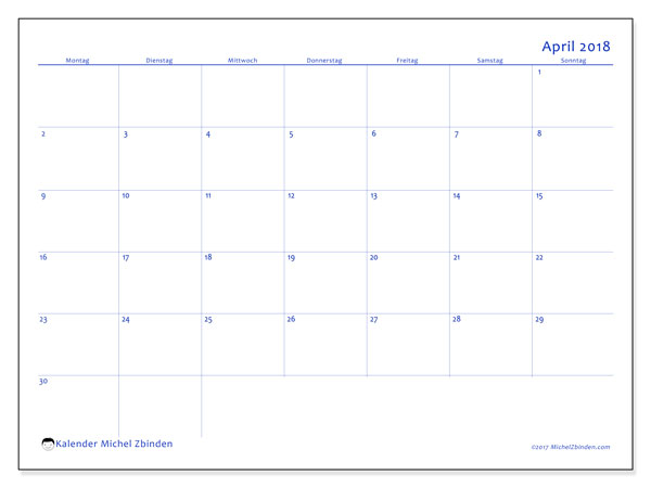 Kalender April 2018 (55MS). Monatlicher Kalender zum kostenlosen ausdrucken.