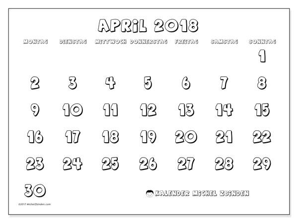 Kalender April 2018 (56MS). Monatlicher Zeitplan zum kostenlosen ausdrucken.