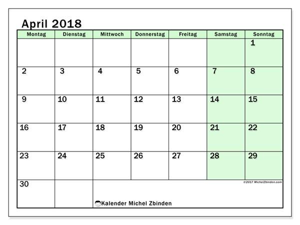 Kalender April 2018 (60MS). Kostenloser Planer zum ausdrucken.