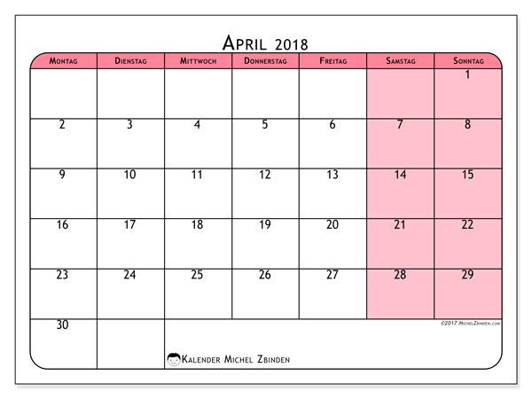 Kalender April 2018 (64MS). Kostenloser Zeitplan zum ausdrucken.