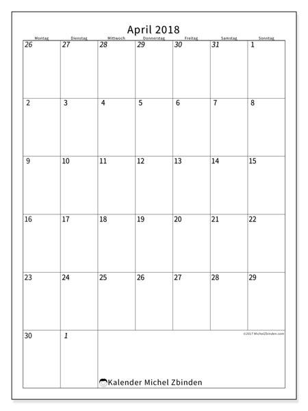 Kalender April 2018 (68MS). Kostenloser Zeitplan zum ausdrucken.
