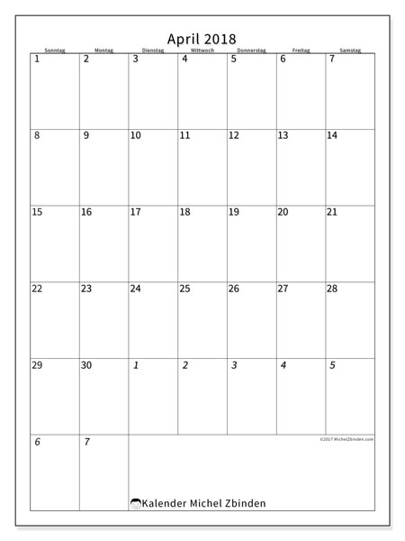 Kalender April 2018 (68SS). Kostenloser Planer zum ausdrucken.